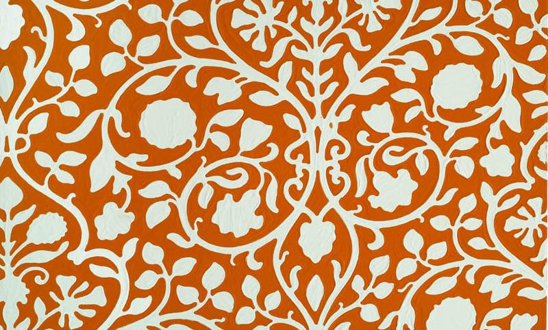 Red floral wallpaper sample, 3